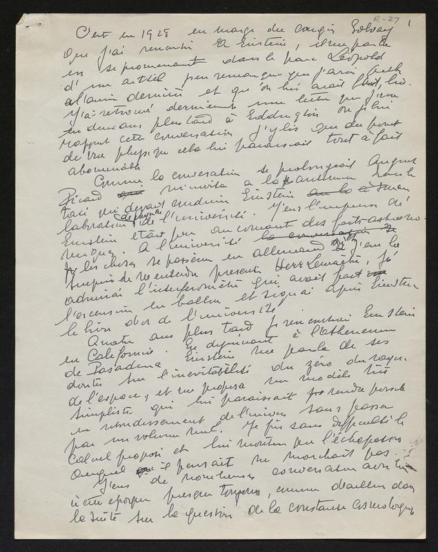 Texte manuscrit de Georges Lemaître concernant son intervention en tant que représentant de l'Académie royale à la soirée du Judaïsme belge en la mémoire d'Albert Einstein