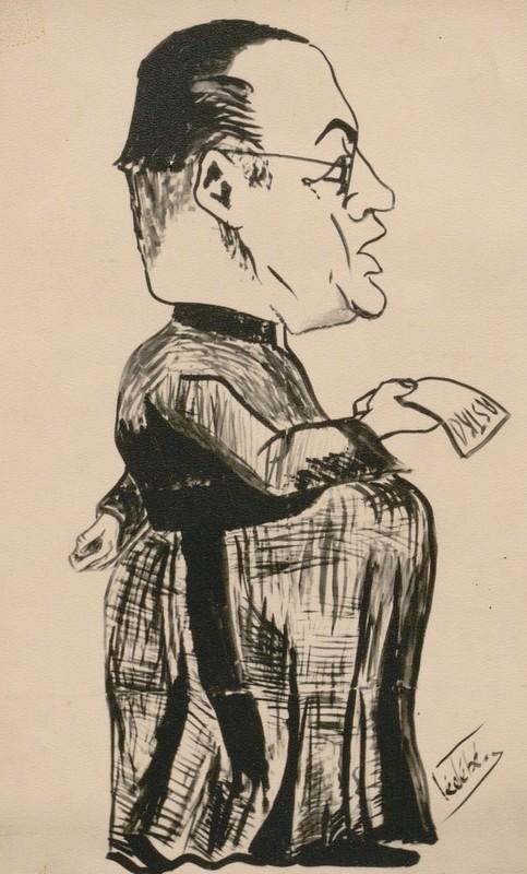 Caricature de Georges Lemaître parue dans la Revue des Ingénieurs