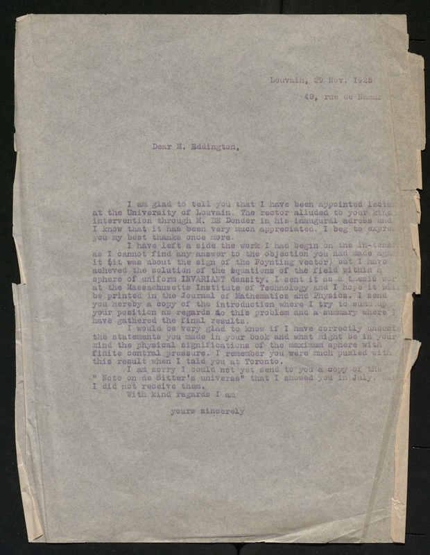 Lettre à Arthur Eddington
